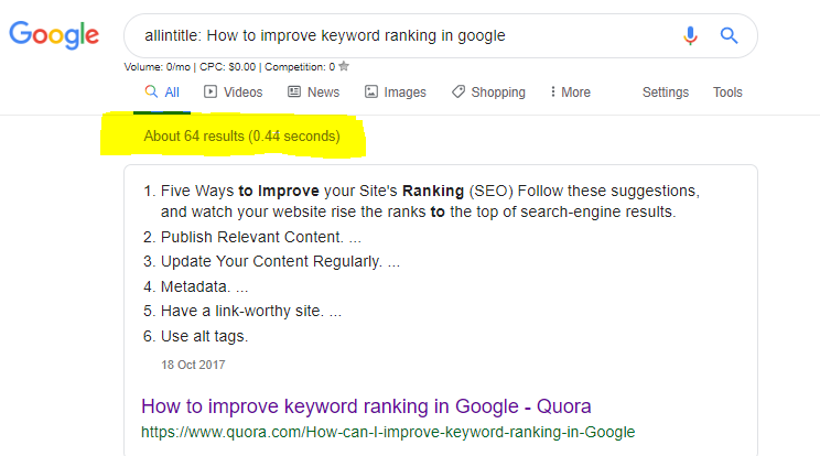allintitle - How to improve keyword ranking in Google