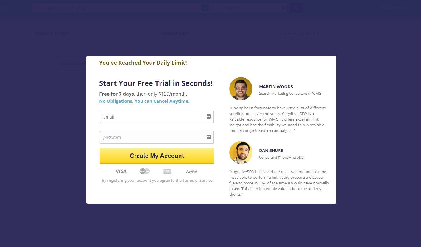 Free Tools for Keyword Search - Cognitive SEO Sign Up
