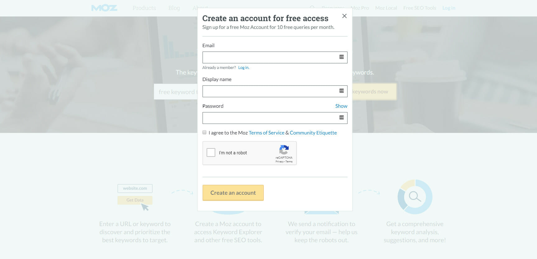 Free Tools for Keyword Search - Moz.com Sign Up