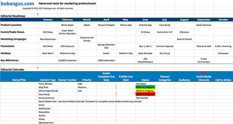 Bob Angus - Marketing Content Calendar Template