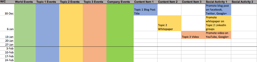 Convince & Convert - Marketing Content Calendar Template