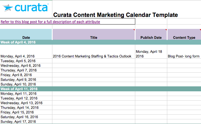 Curata - Marketing Content Calendar Template