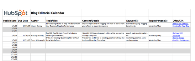 Hubspot - Marketing Content Calendar Template